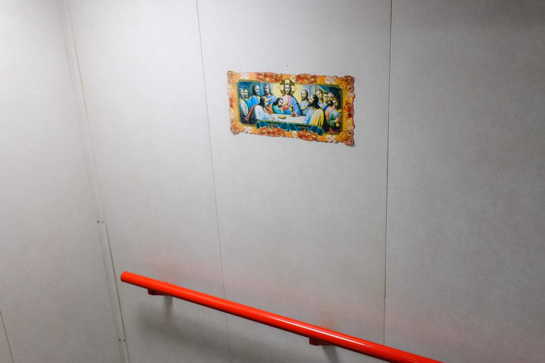 """10 juin 2014 : Le père Bruno Lery à bord du pétrolier russe """"Stella"""", dans le cadre de l'accueil des marins proposé par """"La Mission de la Mer"""", à Port de Bouc (13), France.                                         June 10, 2014: Father Bruno Lery of the Seamen's Club for  """"The Mission of the Sea"""", Port de Bouc (13), France."""